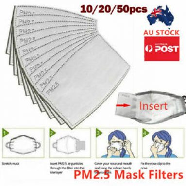 10/20/50PCS PM2.5 P2 Face Mask Filter Activated Carbon Filters Adult/children Unbranded