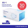30 Pack – [SOLIS SG-1] Medical Grade Face Mask Disposable Surgical Dental 3-Ply SOLIS Healthcare