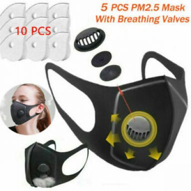5X Reusable Washable Face Mask Filters With Breathing Valves & Activated Carbon Unbranded