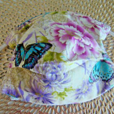 BUTTERFLIES AND FLOWERS ADULT FACE MASK, ear & nose adjusts & PM 2.5 filter Handmade