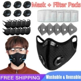 Face Mask + Filter Pad Insert 10PC 3/4/5Layers Cycling W/Valve Reusable Washable Unbranded