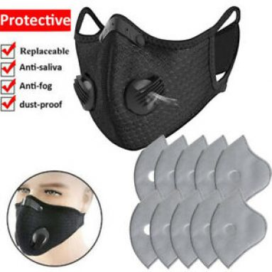 Mask Reusable W/Filter Pads Valves Breathable Anti Fog Face Protection Cover Set Unbranded