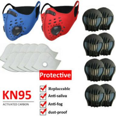 Reusable Face Mask Replaceable Breathing Valve & Filter Pad Outdoor Protect Set Unbranded
