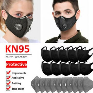Reusable Face Mask Cover W/Valve&3/4/5 Layer Insert Filter Pad Outdoor Protect Unbranded