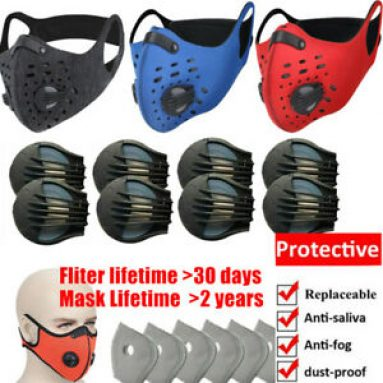 Reusable Face Mouth Mask Shield Replaceable Filter Pads W/Valves Protect Safe US Unbranded