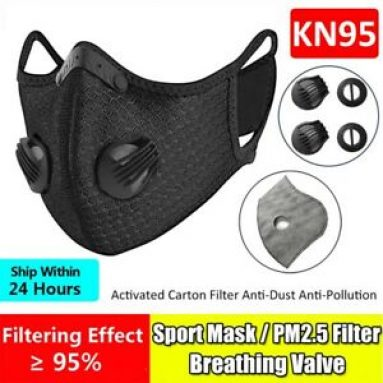 Reusable Sport Face Mask W/Valve & 10PCS 3/4/5 Layer Activated Carbon Filter Pad Unbranded