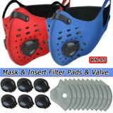 Reusable Sports Diving Fabric Face Cover W/Valve & Replaceable Insert Filter Pad Unbranded