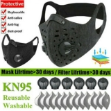 Reusable Washable Sport Breathing Valve Face Mask With Activated Carbon Filters Unbranded