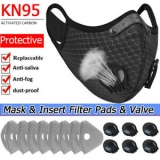 Reusable Washable Sport Face Mask W/ Breath valve& Replacement Insert Filter Pad Unbranded