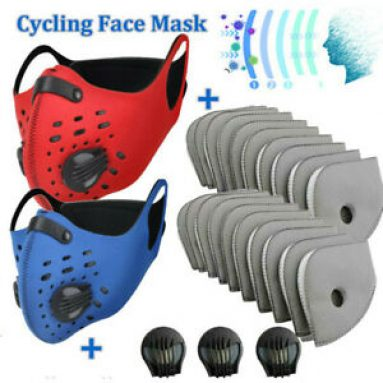 Sports Face Protection Anti-Pollution Replaceable Filter Pads W/Valves Covering Unbranded