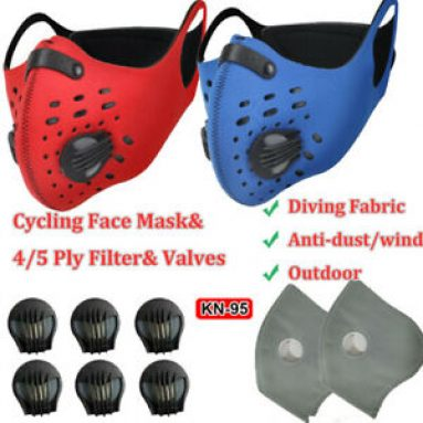 Sports Filter Pads Outdoor Diving Fabric Face Shield With Valves& Replaceable Unbranded