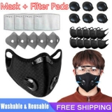 Washable Reusable Cycling Face Mask W/Valve & 10PC 3/4/5Layers Insert Filter Pad Unbranded