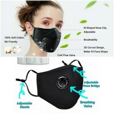 Washable reusable face mask with breathing valve and free 2 filter inserts Handmade